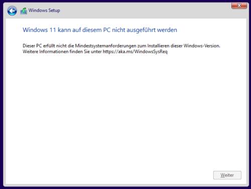 Windows 11: Spezielle Voraussetzungen fehlen